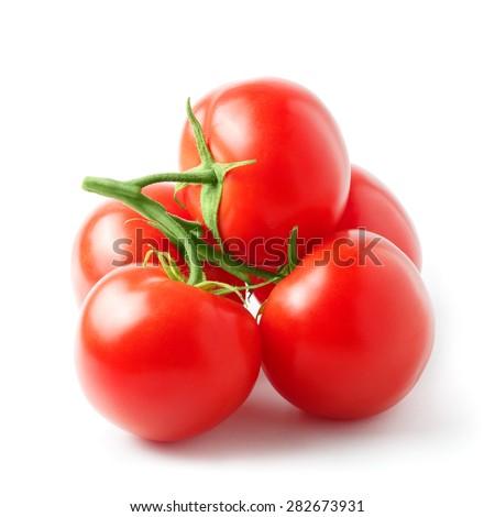 Fresh tomatoes on a white background, isolated - stock photo
