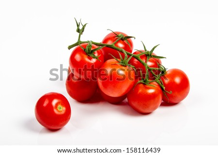 Fresh tomatoes on the vine isolated on white background - stock photo
