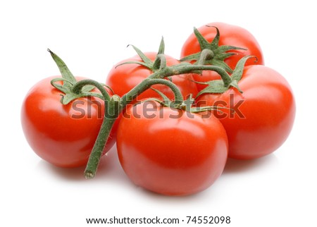 fresh tomatoes on white background - stock photo
