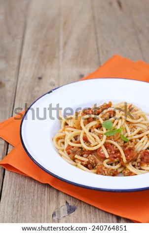 fresh tomatoes spaghetti with meat sauce.  - stock photo