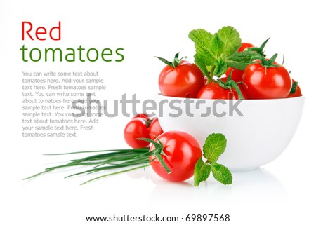 fresh tomatoes with green leaf isolated on white background - stock photo