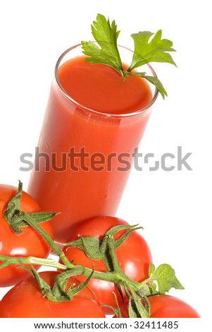 Fresh tomatoes with juice on white background