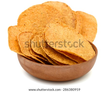 fresh tortilla chips in bowl on white background  - stock photo