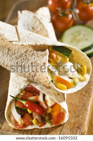 fresh tortilla on the board close up shoot - stock photo