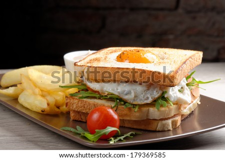 Fresh triple decker premium club sandwich with french fries on side  - stock photo