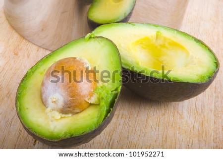 Fresh tropical avocado fruit studio on white background - stock photo