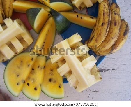 Fresh tropical fruit - stock photo