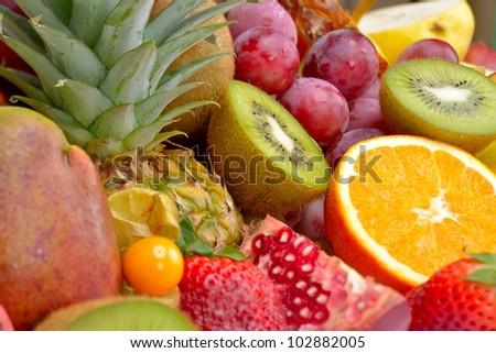 fresh tropical fruits - stock photo