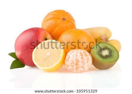 fresh tropical fruits and slices isolated on white background - stock photo