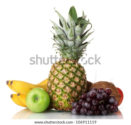 Fresh tropical fruits isolated on white - stock photo