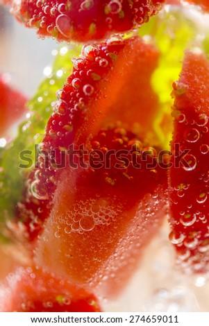 Fresh tropical strawberry cocktail - Shallow DOF - stock photo