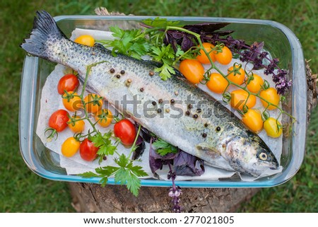 Fresh trout with tomato cherry, basil and parsley in glass crockery, top view - stock photo