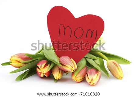 fresh tulips and heart for mom - stock photo
