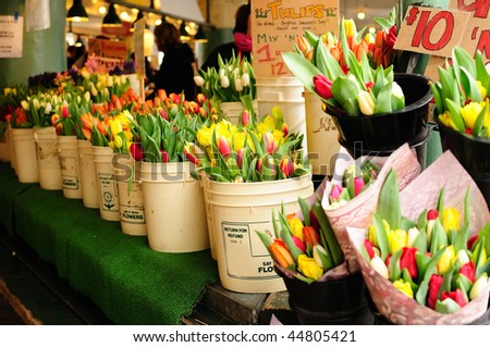 Fresh Tulips for sale at a local market in Seattle - stock photo