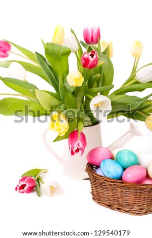 fresh tulips with easter eggs in a basket isolated on white