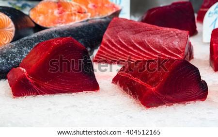 fresh tuna filet on display - stock photo