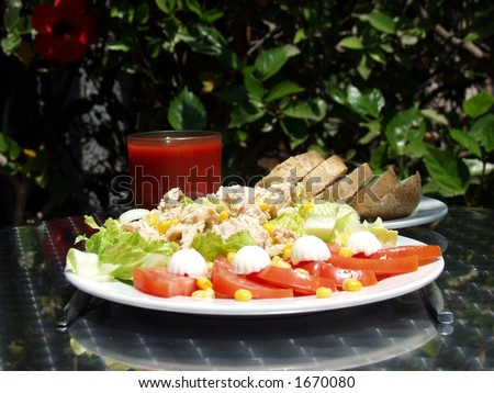 fresh tuna salad and tomato juice whit wholemeal bread