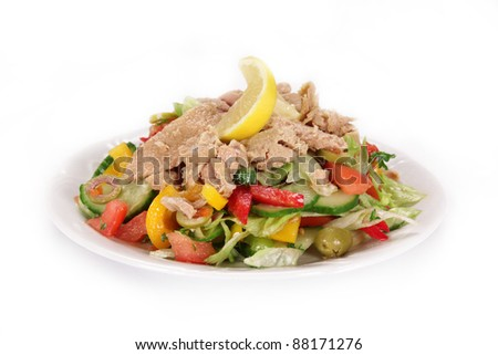 Fresh tuna salad over white - stock photo