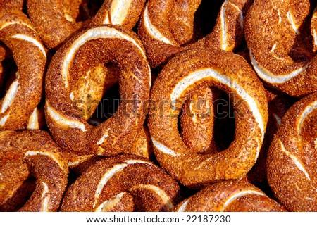 Fresh Turkish bagels - stock photo