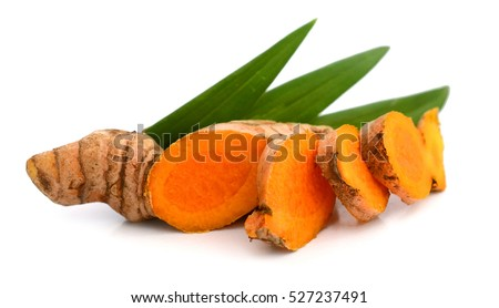 Fresh turmeric root on white