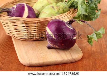 Fresh turnip on wooden background - stock photo