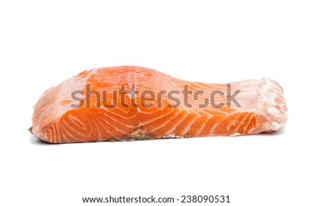 Fresh uncooked red fish fillet slices. Isolated on a white background. - stock photo