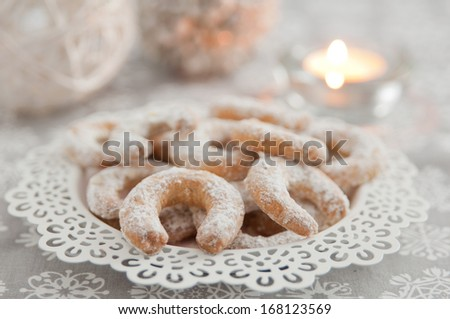 Fresh Vanilla Cookies With Powdered Sugar For Christmas  - stock photo