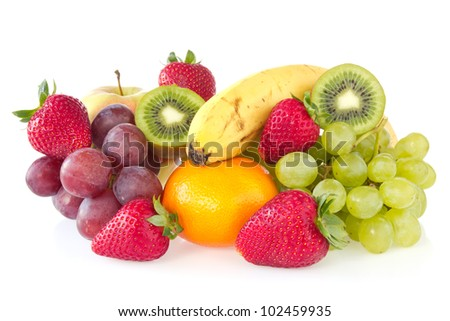 fresh various fruits over a white background