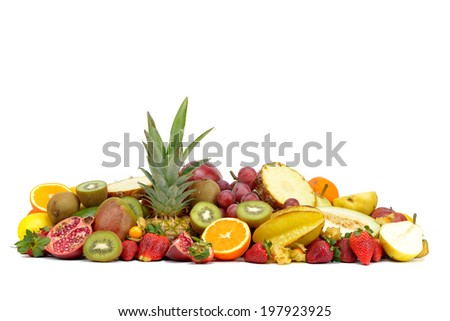 fresh various tropical fruits isolated on white background