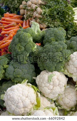 Fresh vegatables, broccoli and  cauliflower with carrots - stock photo