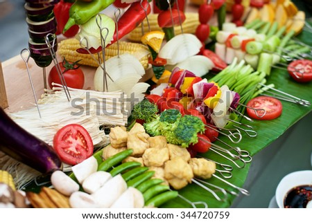 Fresh vegetable and skewers for BBQ on buffet restaurant