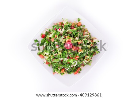 Fresh vegetable Arabic salad (Syria, Arab), isolated on white background top view. Healthy food. - stock photo