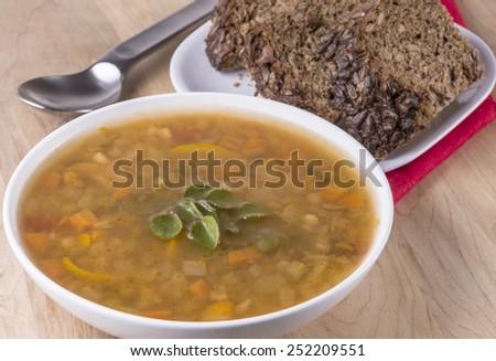 Fresh Vegetable barley soup - stock photo