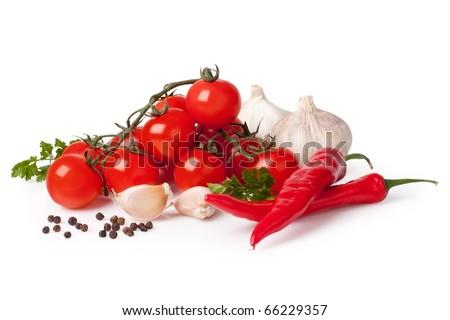 Fresh vegetable (bunch of fresh cherry tomato, garlic, capsicum, pepper, dill) - stock photo