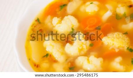 Fresh vegetable cauliflower soup - stock photo