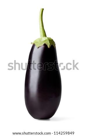 Fresh vegetable eggplant on a white - stock photo