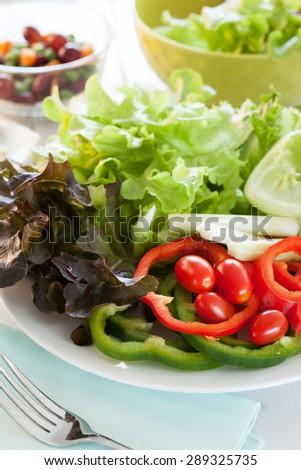 fresh vegetable for salad recipe - stock photo
