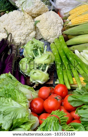 Fresh vegetable in colors - stock photo
