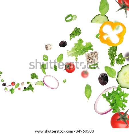 Fresh vegetable in motion - stock photo
