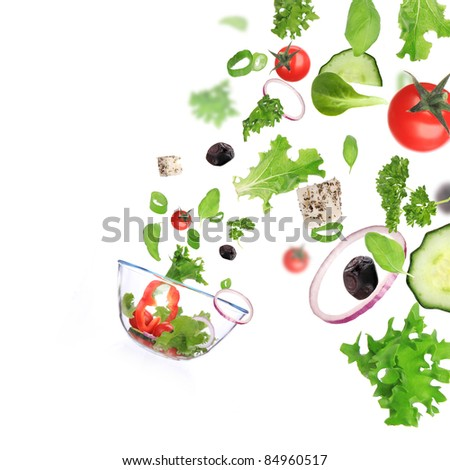 Fresh vegetable in motion