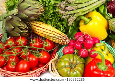 fresh vegetable isolated on white background - stock photo