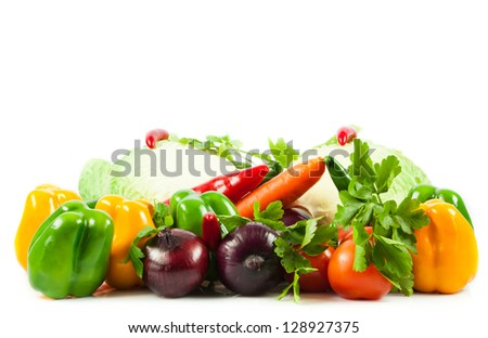 Fresh vegetable isolated on white background.  Healthy Eating. Seasonal organic raw vegetables.