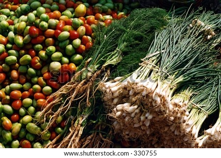 Fresh vegetable market, Burma - stock photo