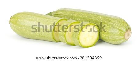 Fresh vegetable marrow isolated on white background - stock photo