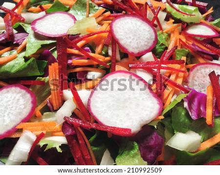 fresh vegetable mix salad - stock photo