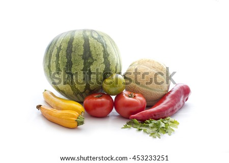 Fresh vegetable on white - stock photo