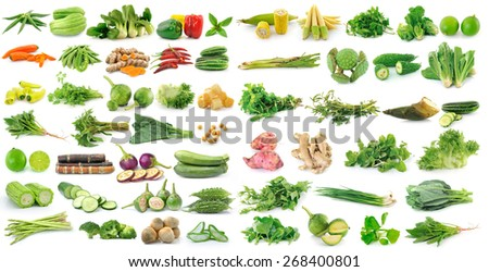 fresh vegetable on white background - stock photo