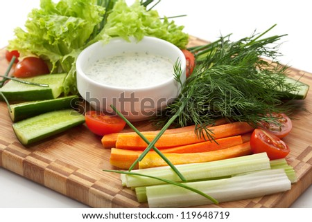 Fresh Vegetable Plate with White Sauce - stock photo