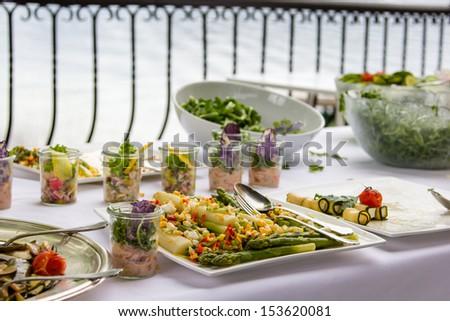Fresh vegetable platter at a hotel buffet - stock photo