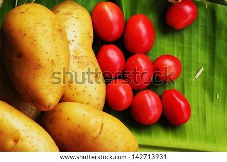 Fresh vegetable- Potato - Tomato - stock photo